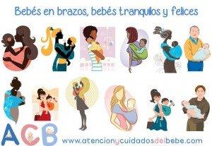 Bebés en brazos, bebés tranquilos y felices